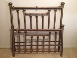 Antique Full Size Brass Bed Headboard And Footboard/late 1800s To Early 1900s photo