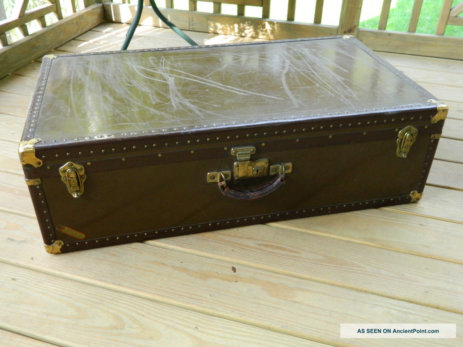 1930 - 40 ' S Steamer Trunk,  Storage Chest,  Luggage,  National Vulcanized Fibre Co. 1900-1950 photo