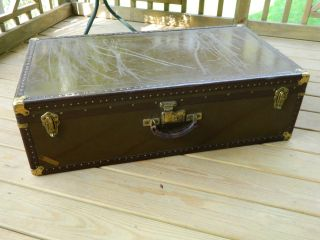 1930 - 40 ' S Steamer Trunk,  Storage Chest,  Luggage,  National Vulcanized Fibre Co. photo
