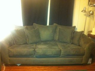 Hunter Green Suade Couch And Loveseat photo