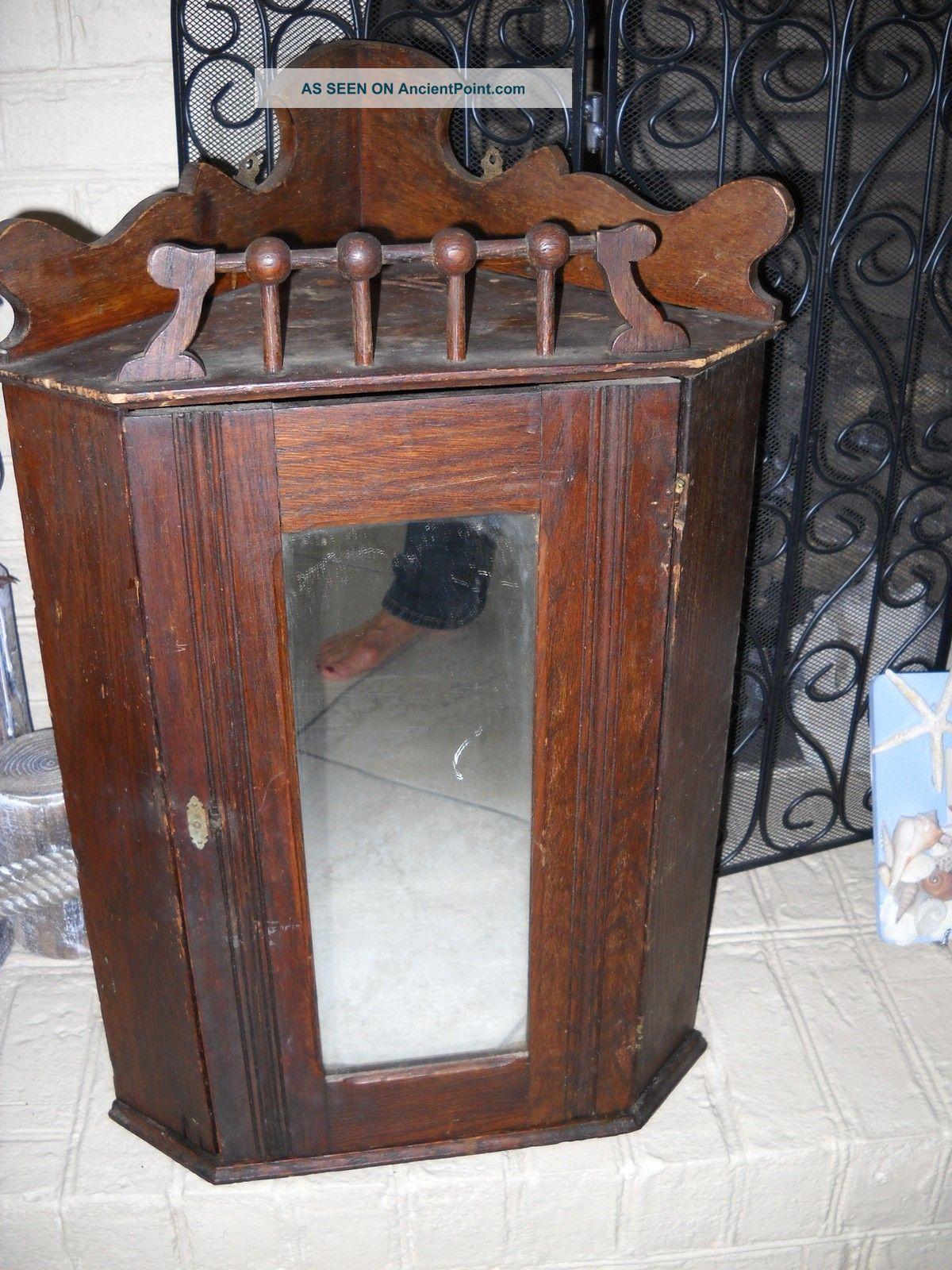 - Antique Hanging Corner Cupboard Cabinet Mirrow Primitive