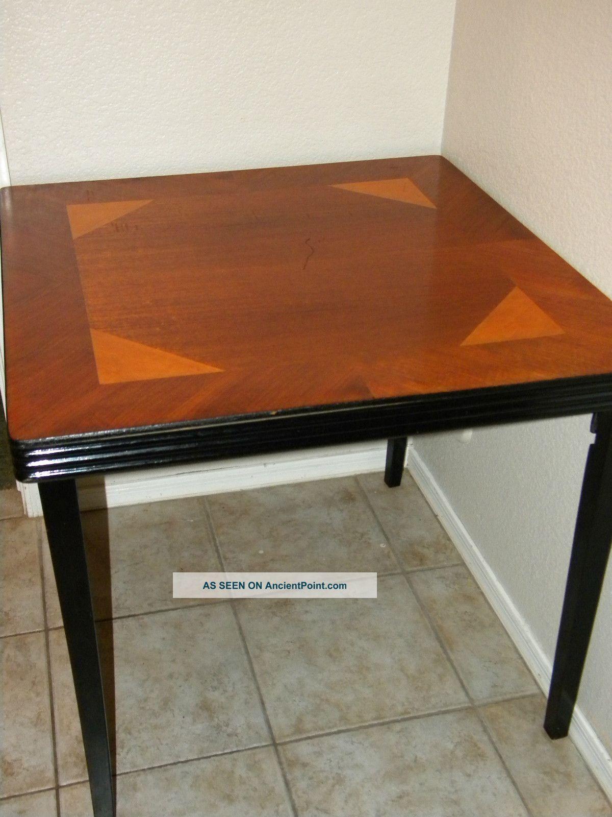 Vtg/antique Castlewood Wood Inlay Folding Card Table Bridge/craft/game Deco  Old