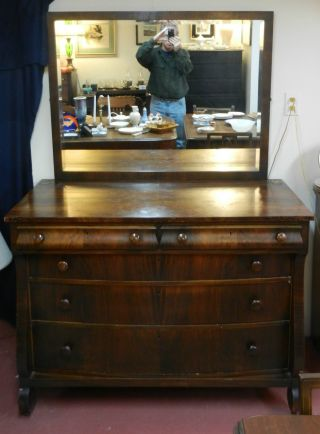 Burl Walnut Veneer Five Drawer Dresser With Mirror By Rishel Furniture Co. photo