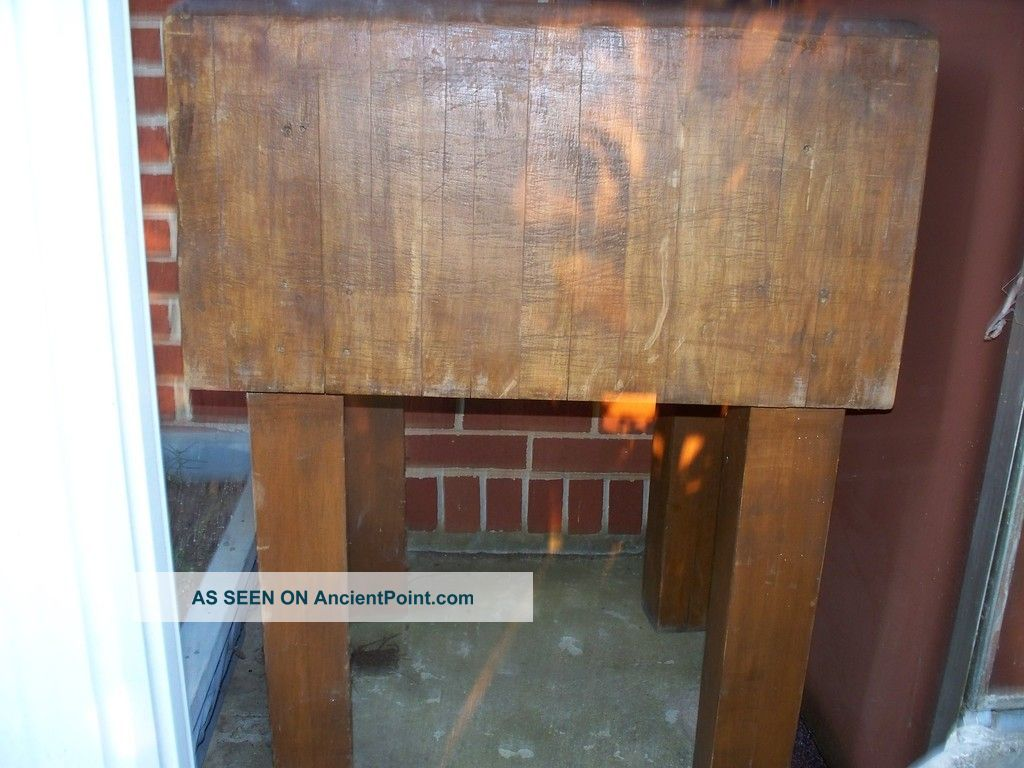 Antique Butcher Meat Block Table From Old Country Store Collectible In Kitchen 1800-1899 photo