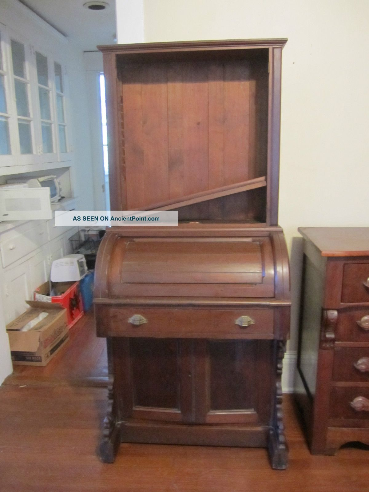 Victorian Eastlake Roll - Top Desk With Bookshelves 1800-1899 photo