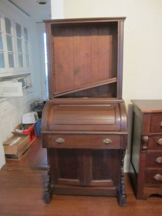 Victorian Eastlake Roll - Top Desk With Bookshelves photo