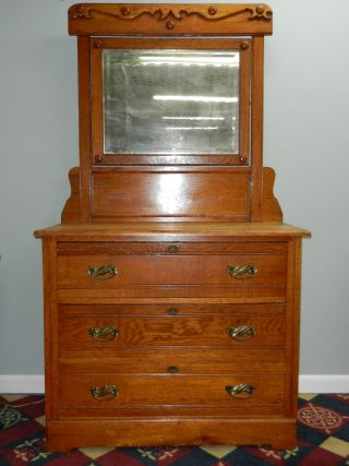 Late Victorian 3 - Drawer Oak Dresser With Mirror photo