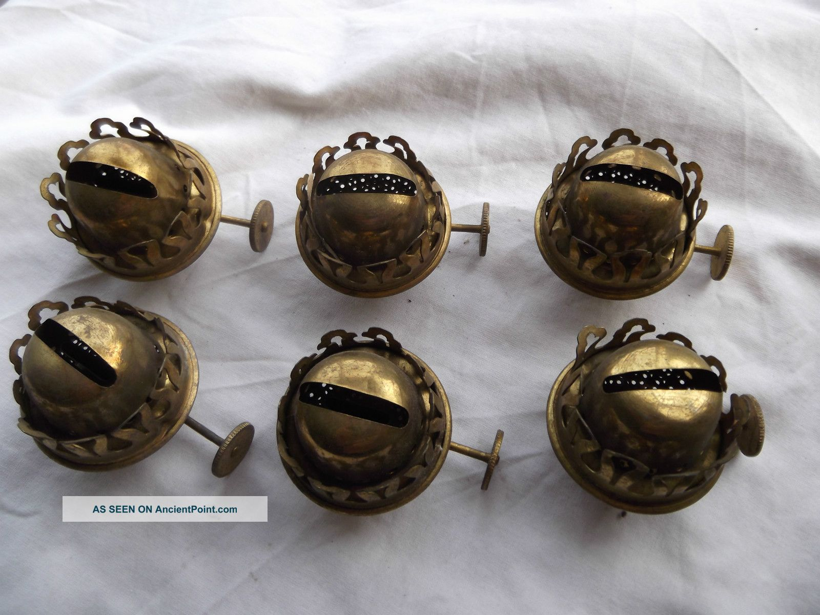 Vintage Sherwoods X 6 - Small Brass Oil Lamp Burners 20th Century photo