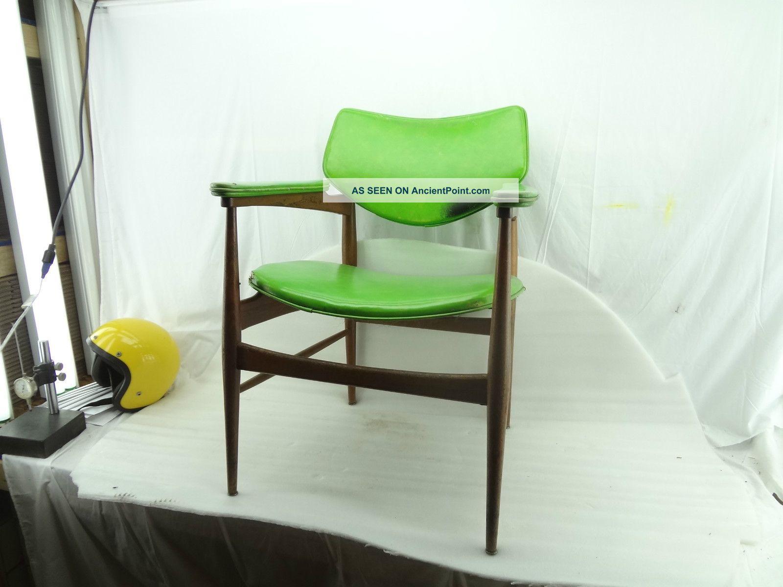 Vintage Retro Mid Century Chair 50s Furniture Modern Danish Style Stool Green Post-1950 photo