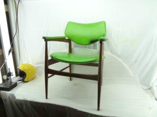 Vintage Retro Mid Century Chair 50s Furniture Modern Danish Style Stool Green photo