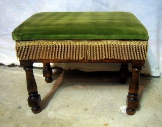 Antique Art Deco Oak Vanity Dressing Table Piano Stool Bench Seat Fringe Storage photo