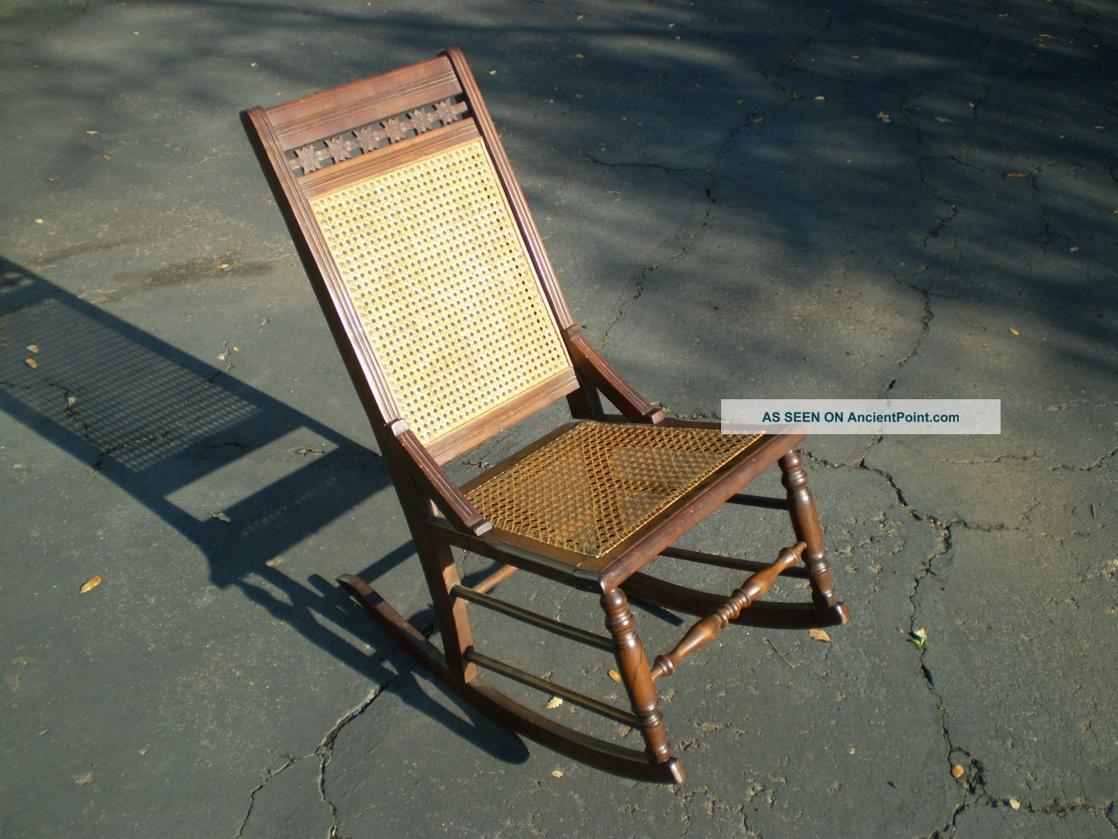 Antique Rocking Chair East Lake Carved Walnut u0026 Hand Cane Back u0026 Seat Good Cond. & Antique Rocking Chair East Lake Carved Walnut u0026 Hand Cane Back ...