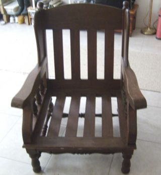 Solid Oak Arts & Crafts Oversize Chair Wing Back Mission Morris Stickley photo