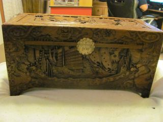 Chinese Handcarved Camphor Chest In Prestine Condition With All Latches photo
