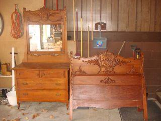 Victorian Oak Standard Bed & Dresser W Mirror Late 1800 ' S photo