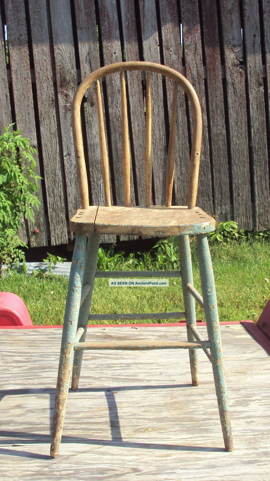 antique child s high chair solid wood circa 1920s fabulous