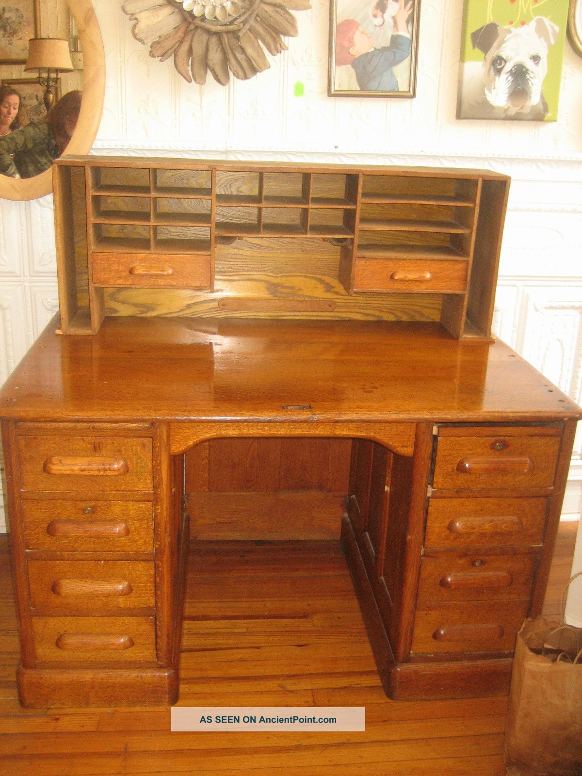 Antique Circa 1900 ' S Roll Top Desk 1900-1950 photo