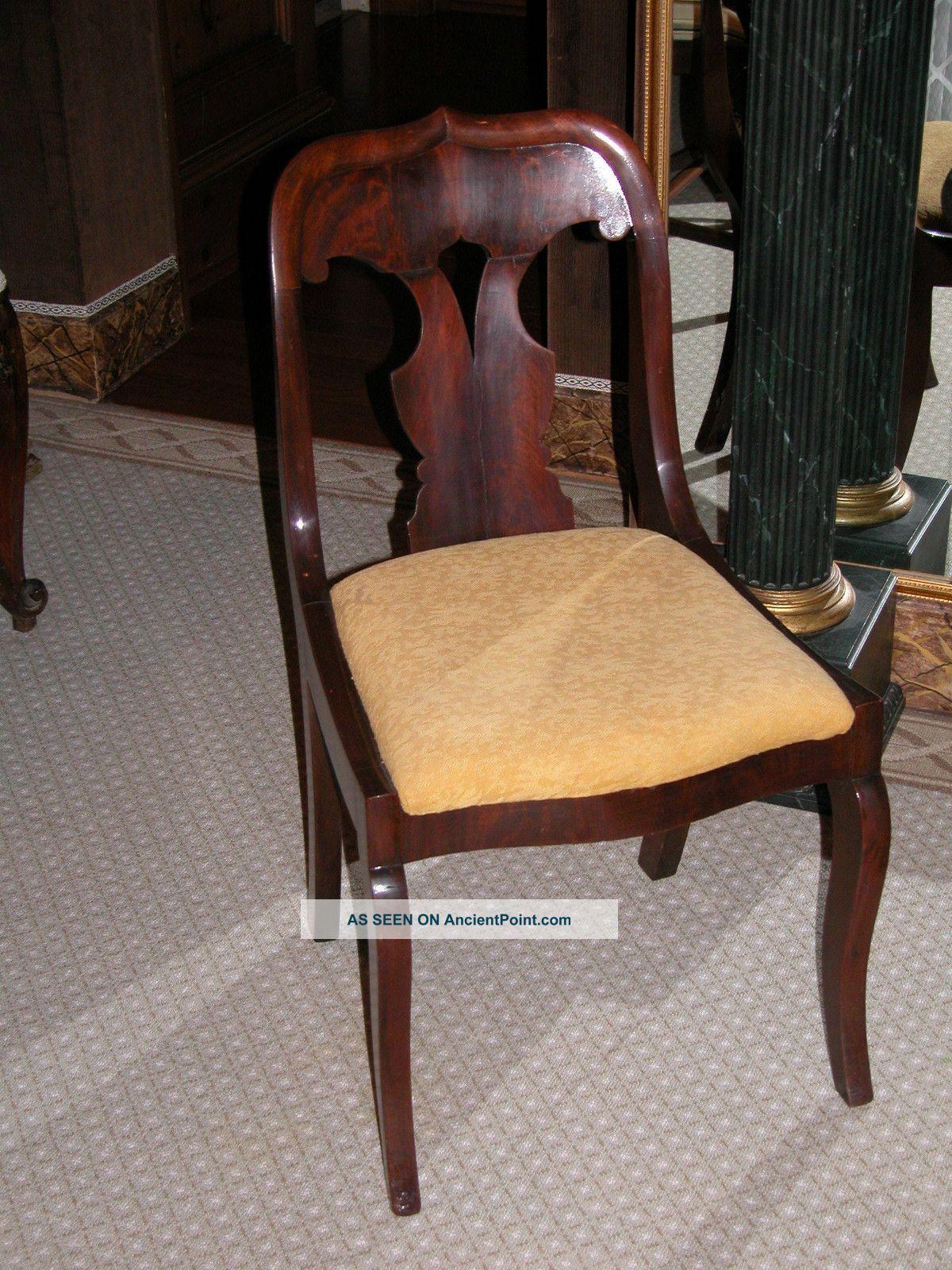 Mahogany American Empire Side Chair W Crotch Mahogany Back 1800-1899 photo