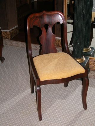 Mahogany American Empire Side Chair W Crotch Mahogany Back photo