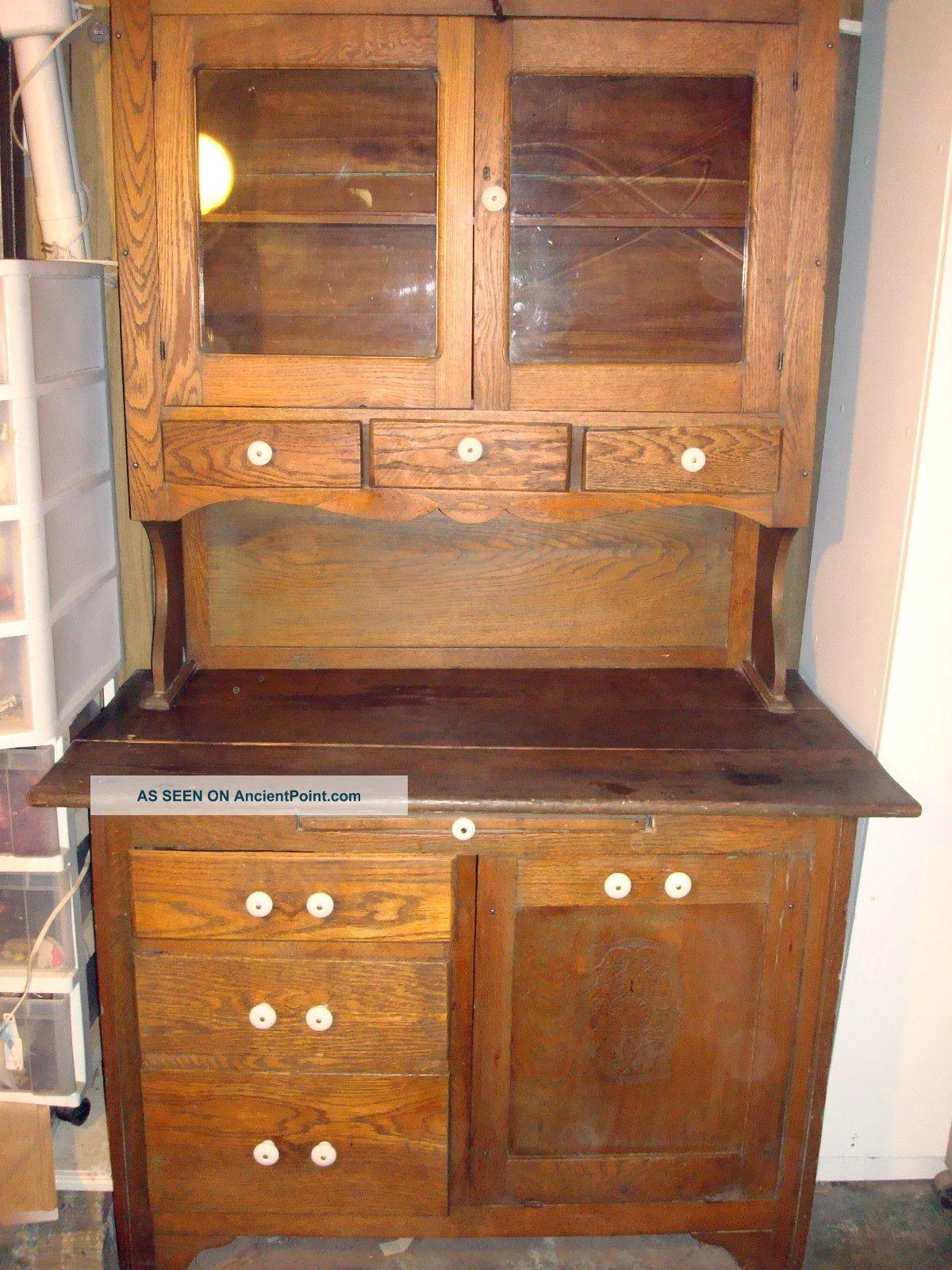 Antique Two Piece Golden Oak Hutch/china Cabinet W/ Potato Bin U0026 Swirl Glass