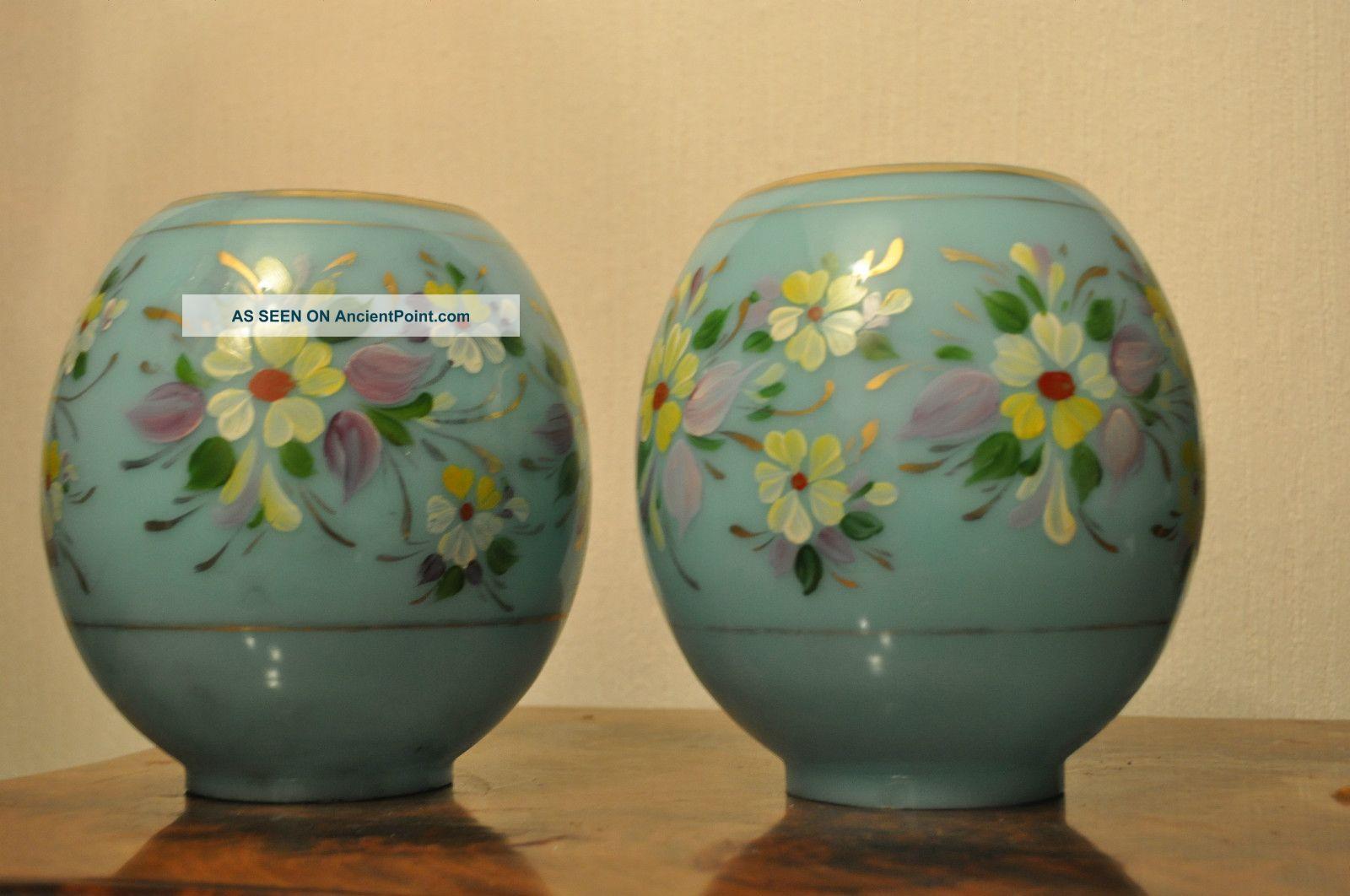 Pair Of Victorian Overlay Opaline Glass Oil Lamp Globe Shade