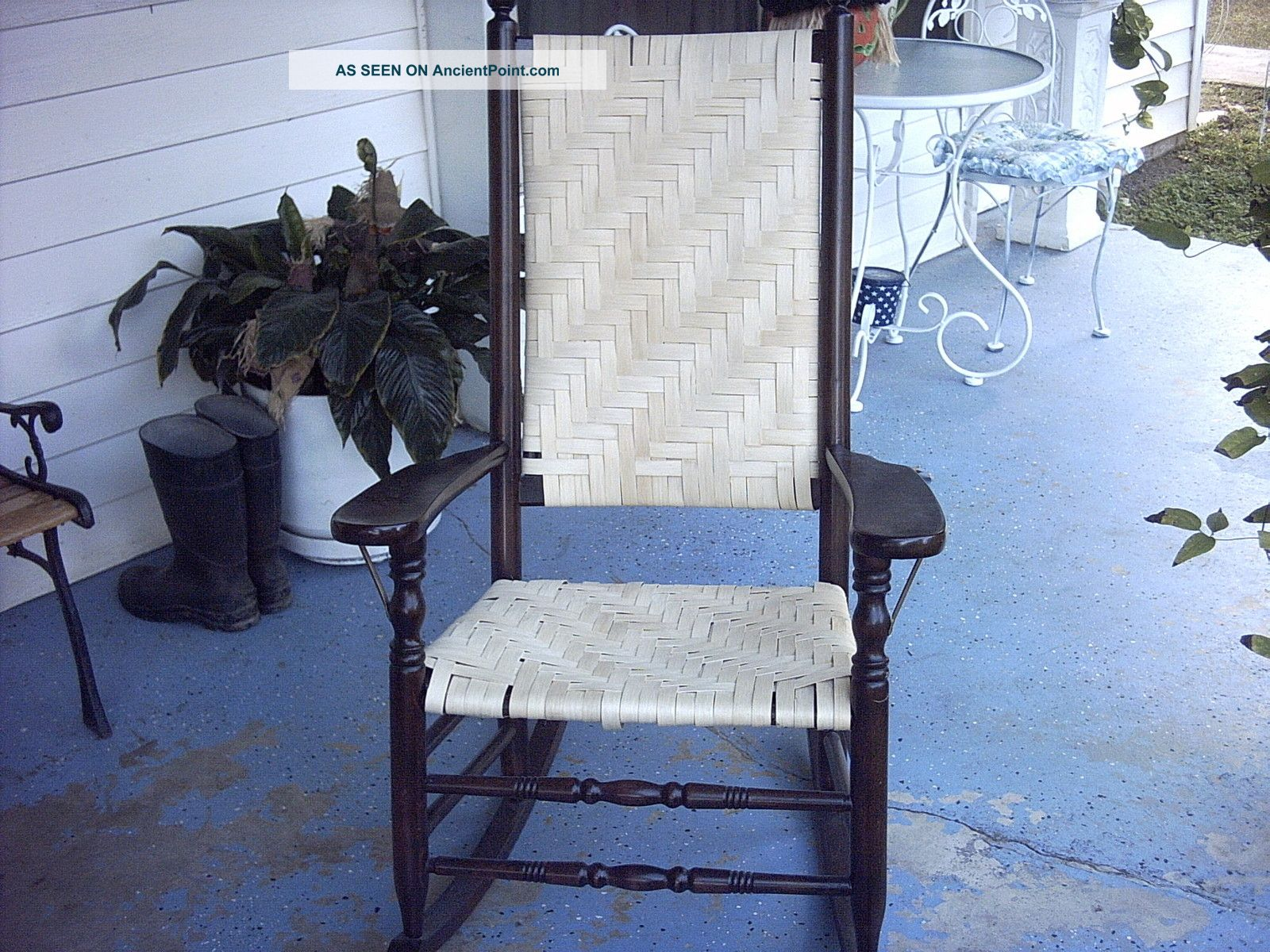 Antique Hand Woven Wicker Mahogany President Wood Rocking Chair Good Condition Post-1950 photo