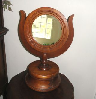 Vintage Walnut Colonial Dresser Top Shaving Mirror With Drawer photo