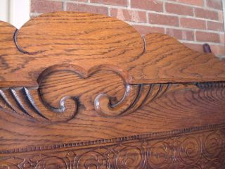 Antique Oak Bed High Back Carved Ornate Carvings Single Twin 1/4sawn Made In Usa photo