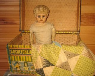 Antique Abc Paper Litho Doll Trunk With Alphabet & Children photo