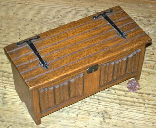 Vintage Coffer Music Box English/welsh Miniature Jacobean Early 1600s Carved Oak photo