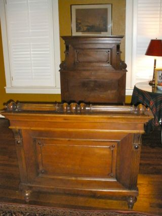 Fabulous Single Size Victorian Style Paneled Walnut Bed From Austria photo