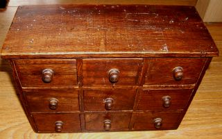 @@ A Usefull Old Mini - Chest Of 9 Wooden Draws Spice Ect @@ photo
