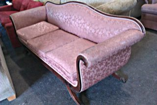 Antique Victorian Duncan Phyfe Style Sofa - Couch,  Brass Claw Feet 3 Pillows photo