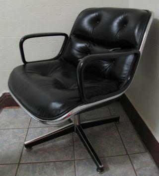 Vintage Knoll Pollack Chair Leather Mid Century Modern Eames Era Desk photo