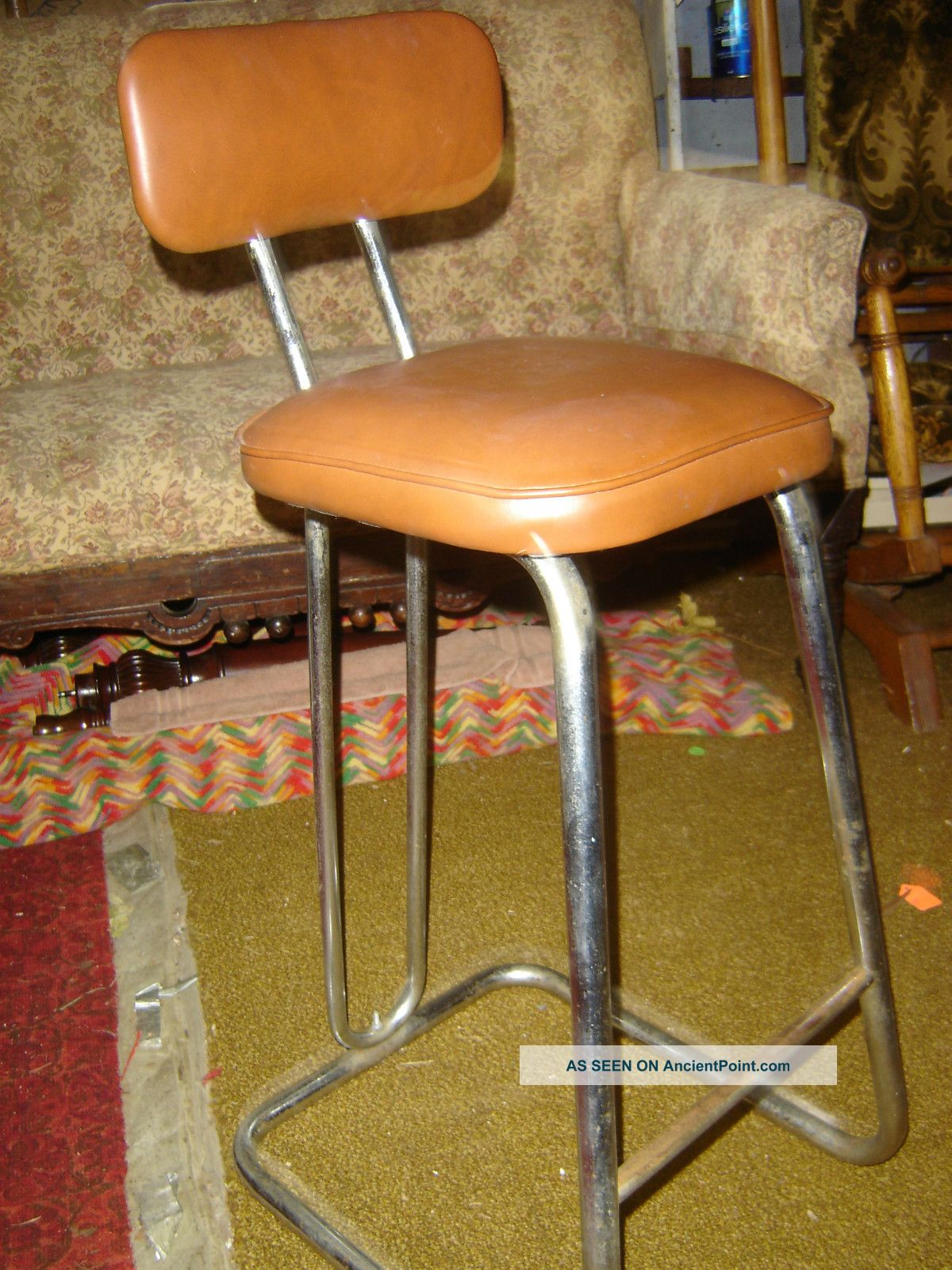 Old=50 ' S=high Back=chrome=chair=stool=tan Upolstery Post-1950 photo