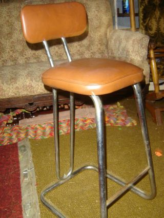 Old=50 ' S=high Back=chrome=chair=stool=tan Upolstery photo
