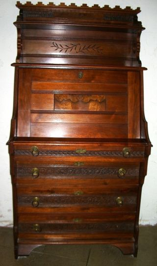 Eastlake Victorian Secretary Desk Burl Walnut Detail Restored Antique photo