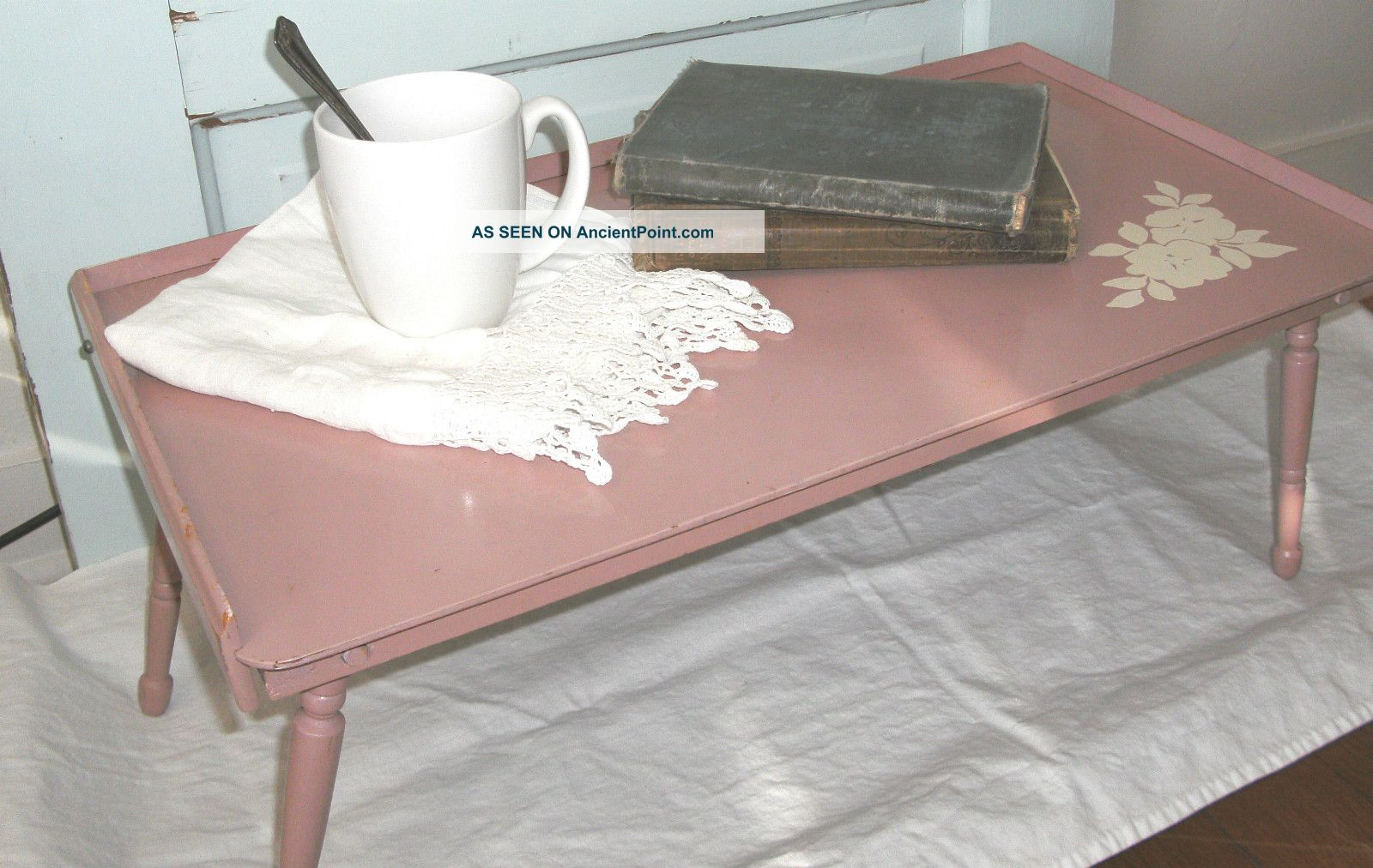 Vintage Shabby Lap Writing Desk Or Tv Tray - Chic Pink,  Tilting Serving Tray Unknown photo