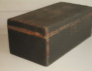 Early Antique Leather Document Trunk photo