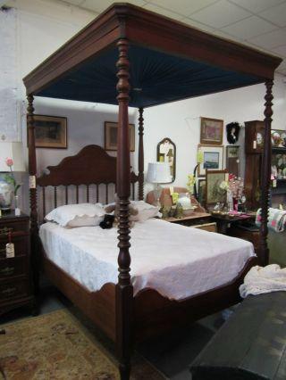Jenny Lind Teaster Bed Full Size Full Canopy Turned Spindels photo
