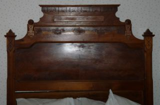 , Very Old Antique Bed: Headboard,  Footboard,  Side Rails. photo