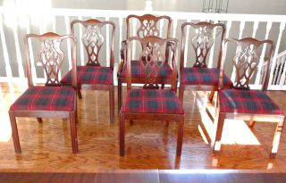 Set Of 6 Chinese Chippendale Mahogany Dining Chairs W/ralph Lauren Fabric Seats photo