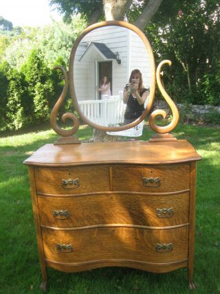 Antique Circa 1930 ' S Oak Dresser With Serpentine Mirror photo