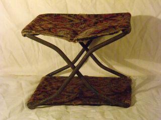Amish Tapesty & Cast Iron Folding Child ' S Buggy Seat photo