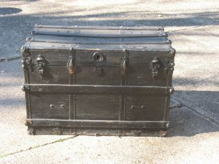 Antique Flat Top Wooden Trunk W/wood Slats On Top And Sides - Needs Refurbished photo