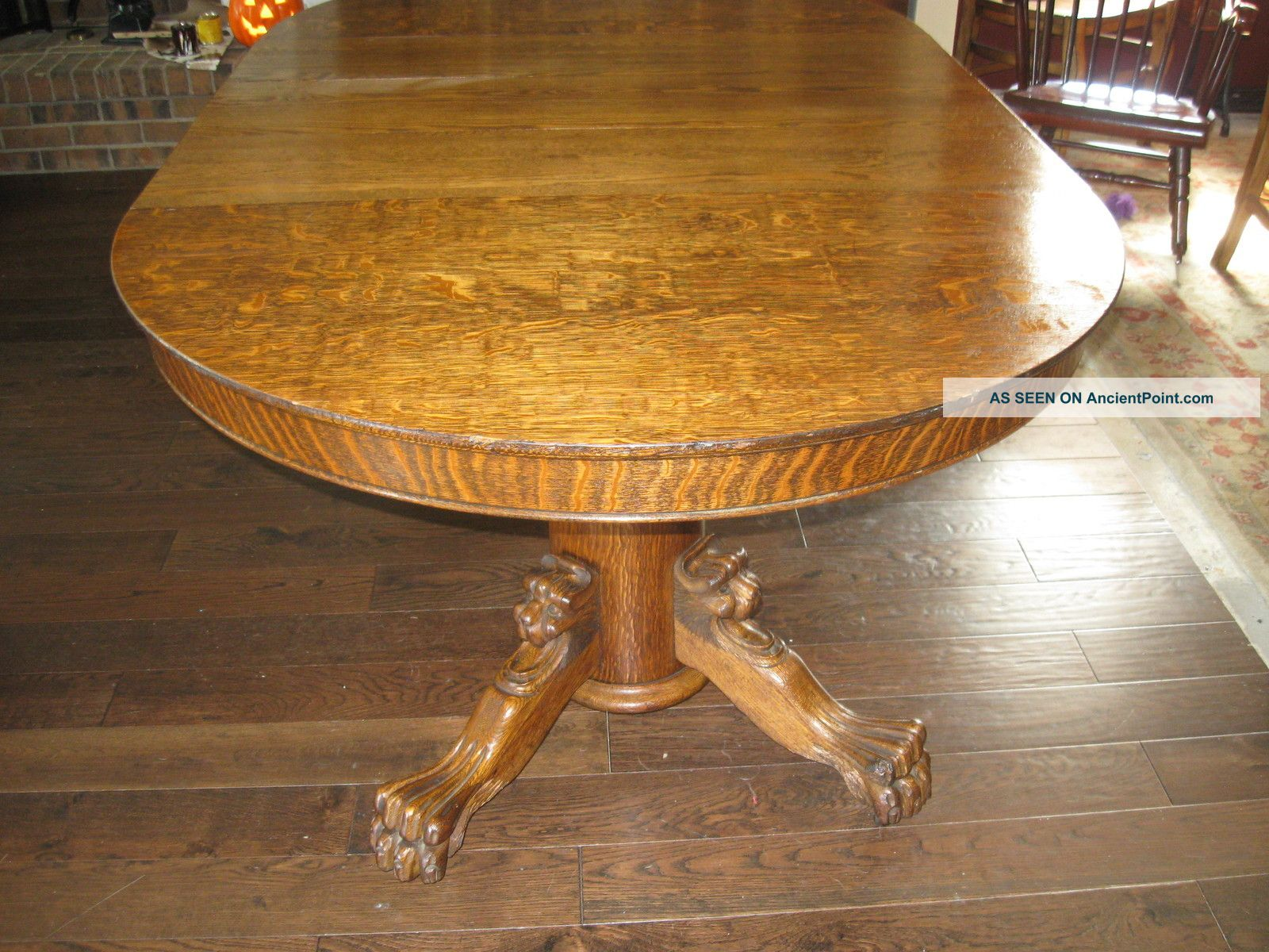 Dining Table Tiger Oak Pedestal Dining Table