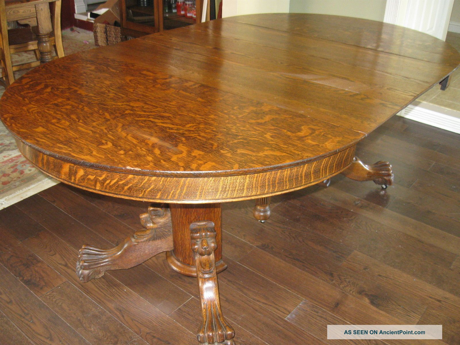 Antique Oak Table ~ Dining table tiger oak antique