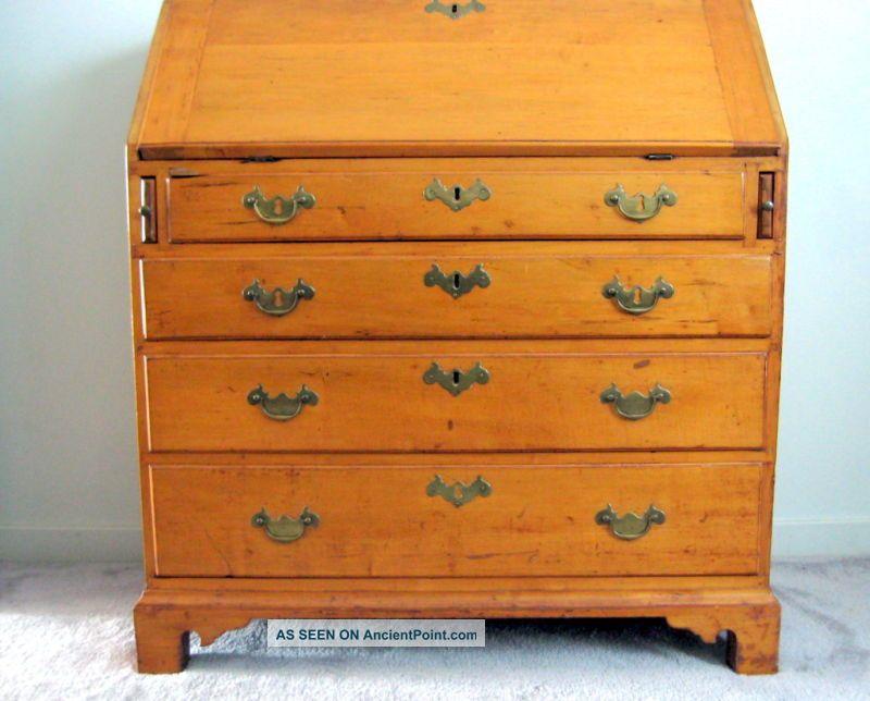 Country Chippendale Slant Front Maple Desk Circa 1780 Pa Excellent Provenance Pre-1800 photo