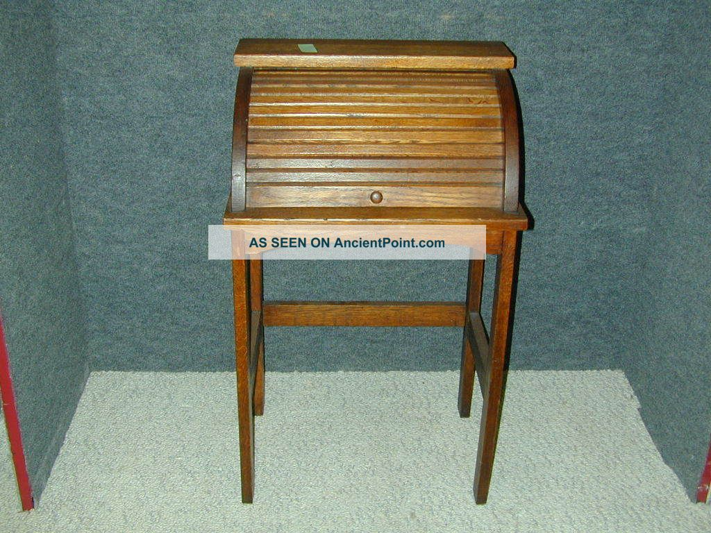Antique Arts & Crafts Mission Oak Child Roll Top Desk,  Stand,  Unique Furniture 1900-1950 photo