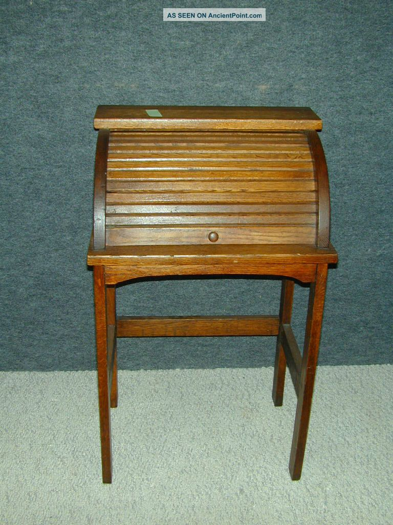 Antique Arts Crafts Mission Oak Child Roll Top Desk Stand Unique Furniture